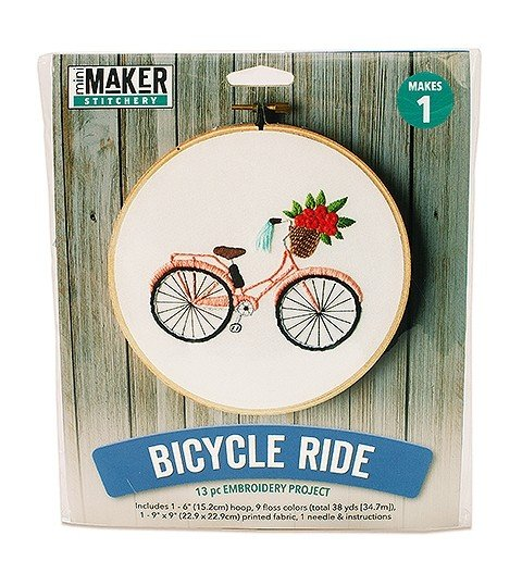 Bicycle Ride Embroidery Kit (Mini Maker by Leisure Arts)