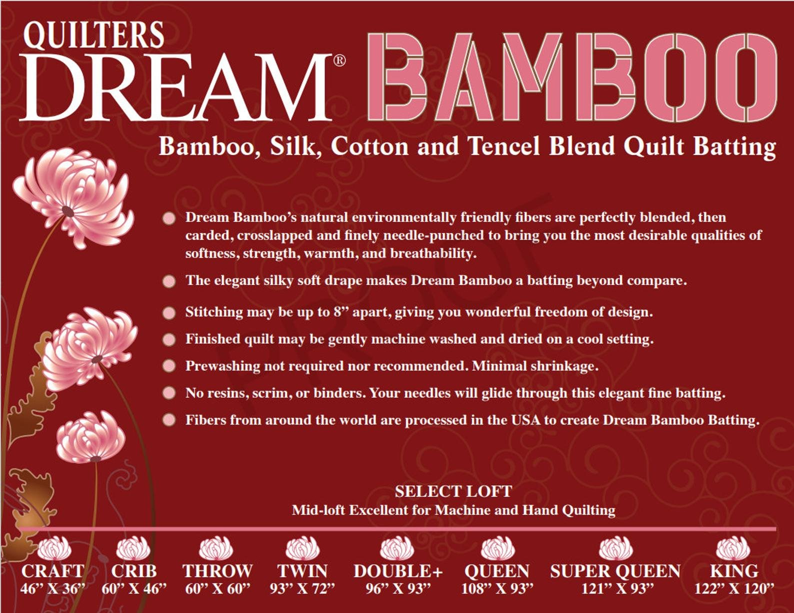 Dream Bamboo Batting/Twin (93 x 72) (Quilters Dream)
