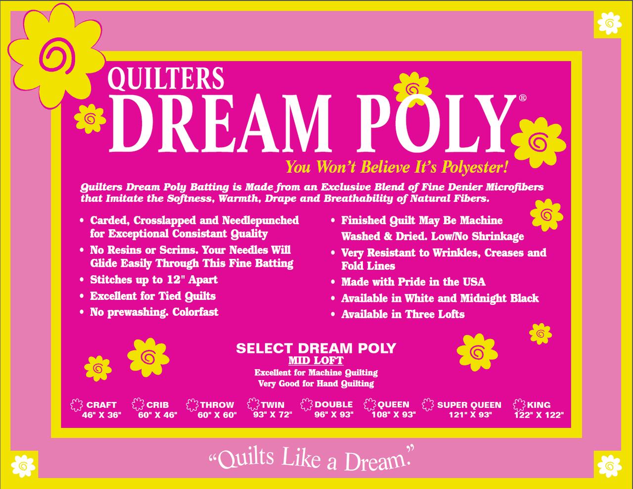 Midnight Dream Select (mid loft)/Black Poly Batting/Craft (46 x 36) (Quilters Dream)
