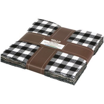 Mammoth Flannel/Black Colorstory Precuts 10 x 10 squares (42 pieces)