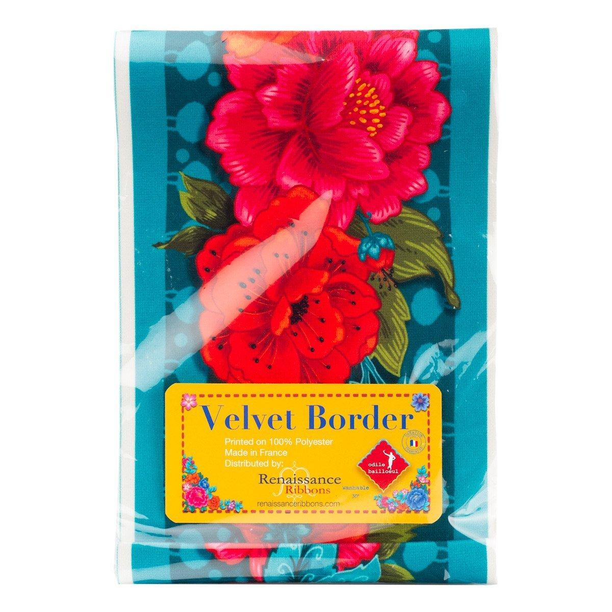 Red Peonies on Turquoise (5 Velvet Border) (Renaissance Ribbons)