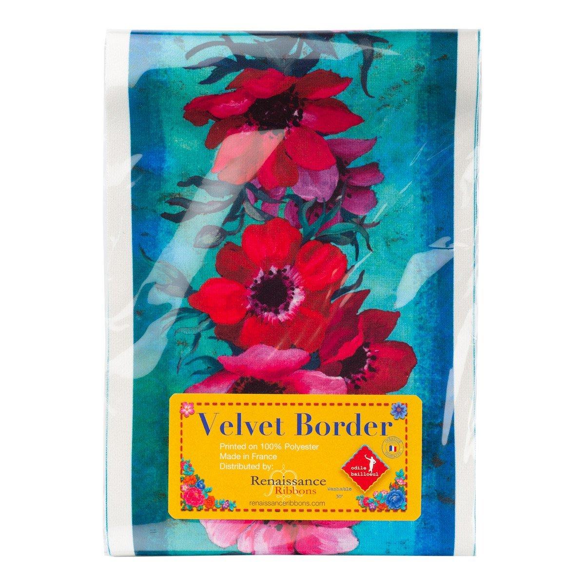 Anemones/Turquoise (5 Velvet Border) (Renaissance Ribbons)