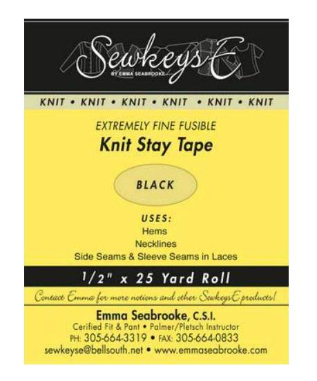 1/2 Knit Stay Tape - Black (SewkeysE)
