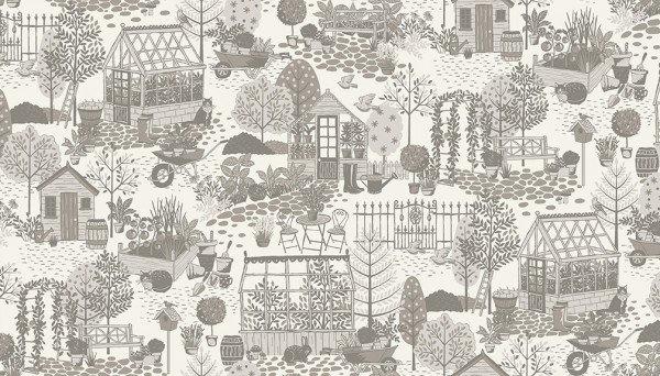 Scene/White & Grey: Clara's Garden (Makower)