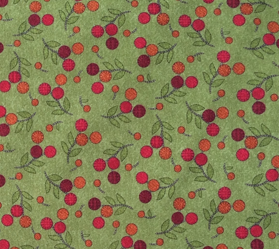Flower Patch Flannel - Cherries Green (MASF8311-G)