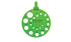 Knitters Pride round needle gauge - green