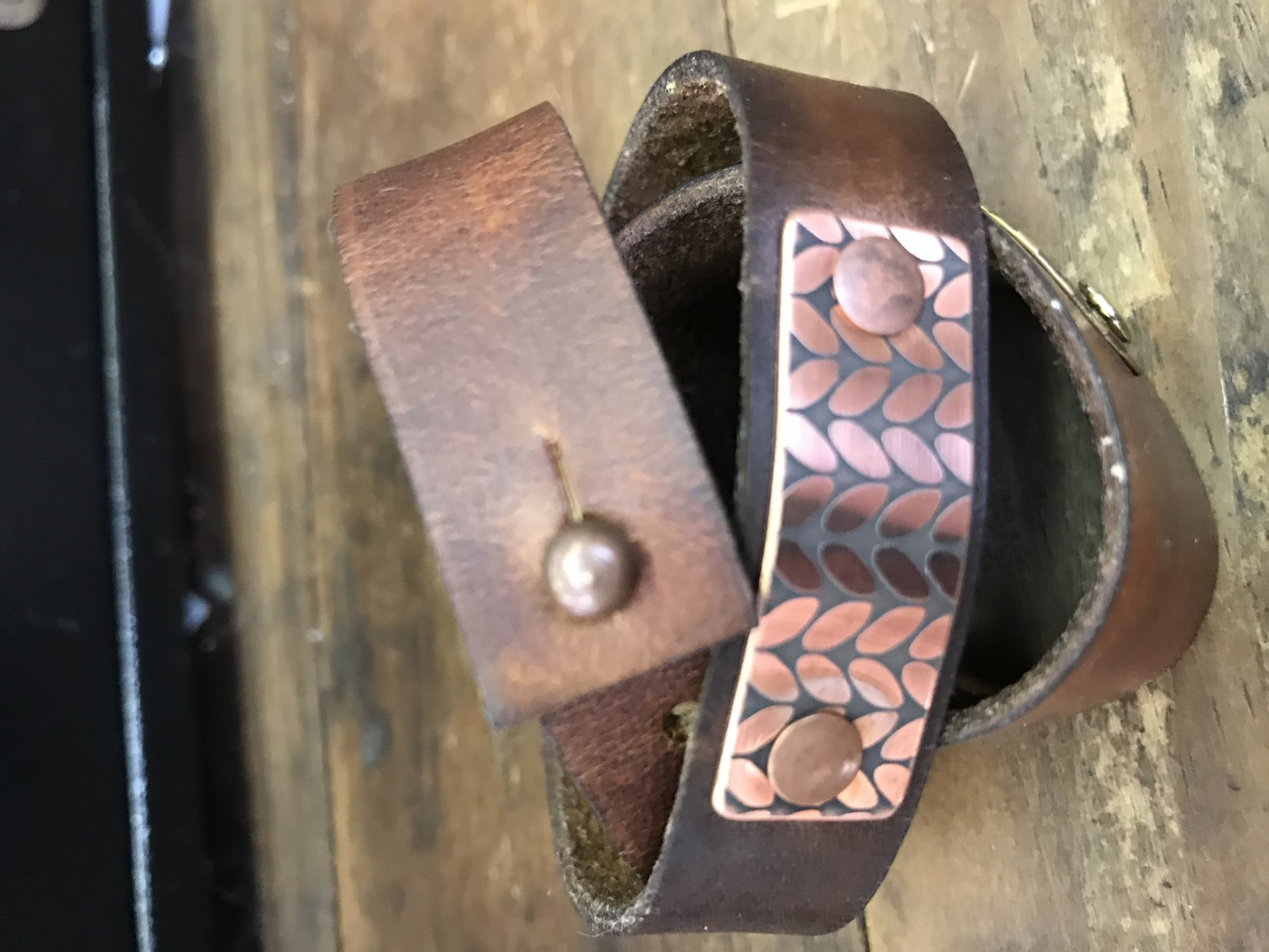 Birdie Parker Rowan Leather Cuff Bracelet - Timber Brown & Copper