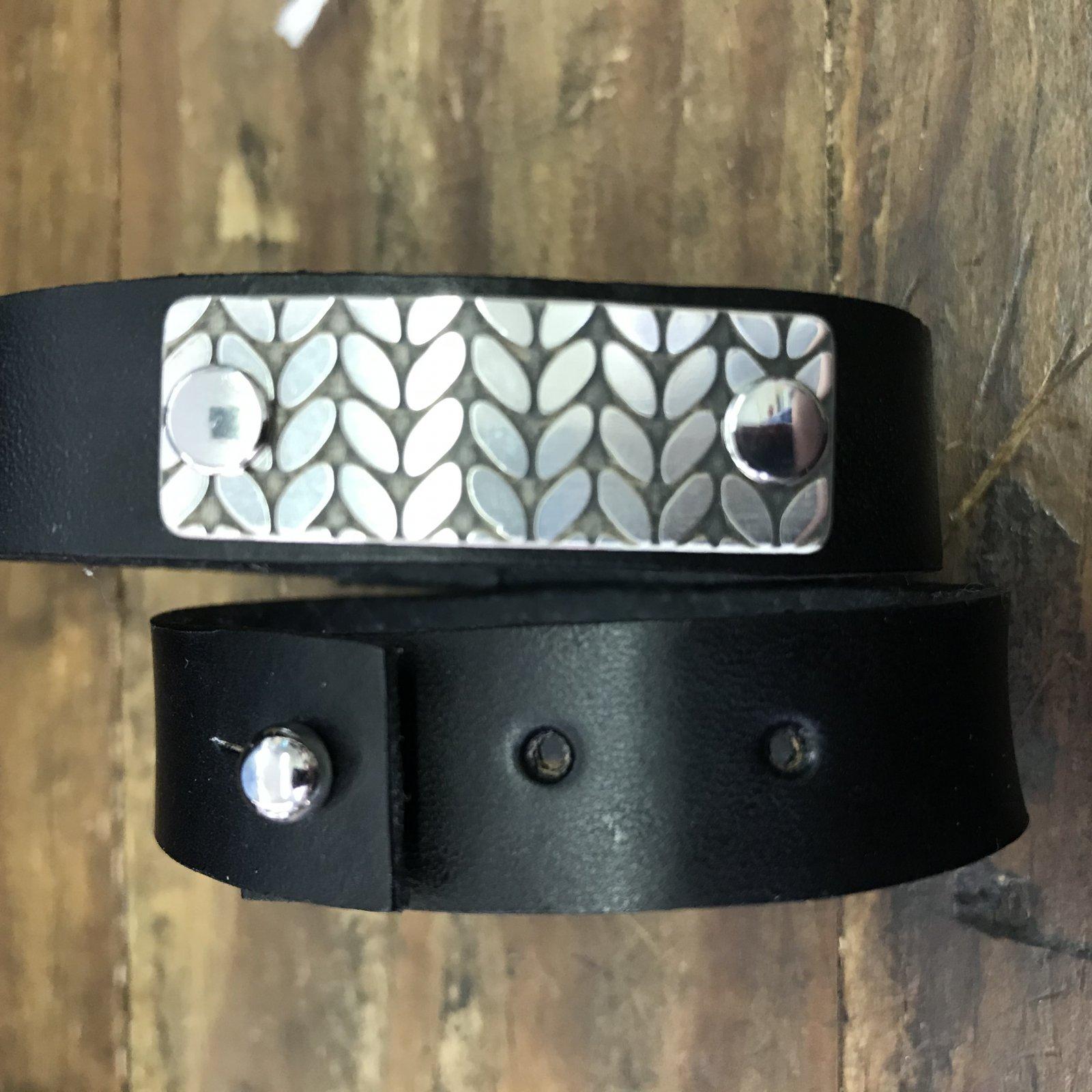 Birdie Parker Rowan Leather Cuff Bracelet - Coal Black & Sterling Silver
