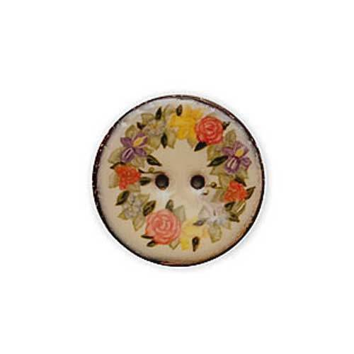 Coco Floral Button - Roses 1 5/8 inches