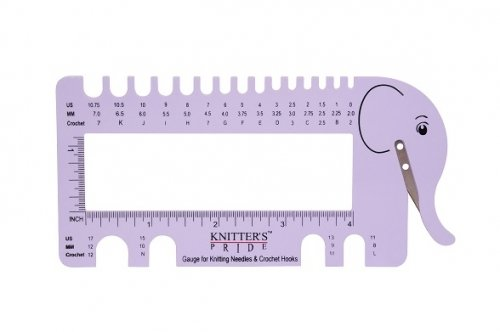 Knitter's Pride Needle Gauge/Yarn Cutter Elephant Lilac