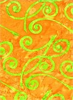 B TEXTILES 3522 ORANGE WITH LIME SWIRLS