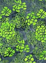 B TEXTILES 3538 GRAY WITH GREEN FLOWER CLUSTERS