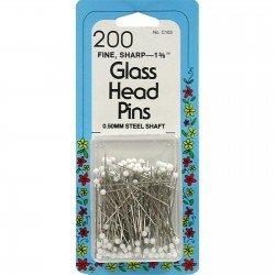 COLLINS FINE WHITE GLASS HEAD PINS CT 200, C103