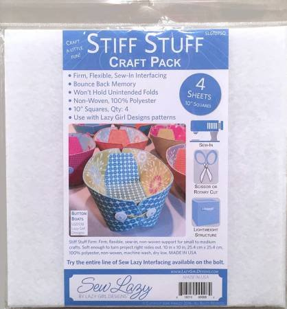 SEW LAZY STIFF STUFF CRAFT PACK 10 INCH SQUARES - 4 SHEETS