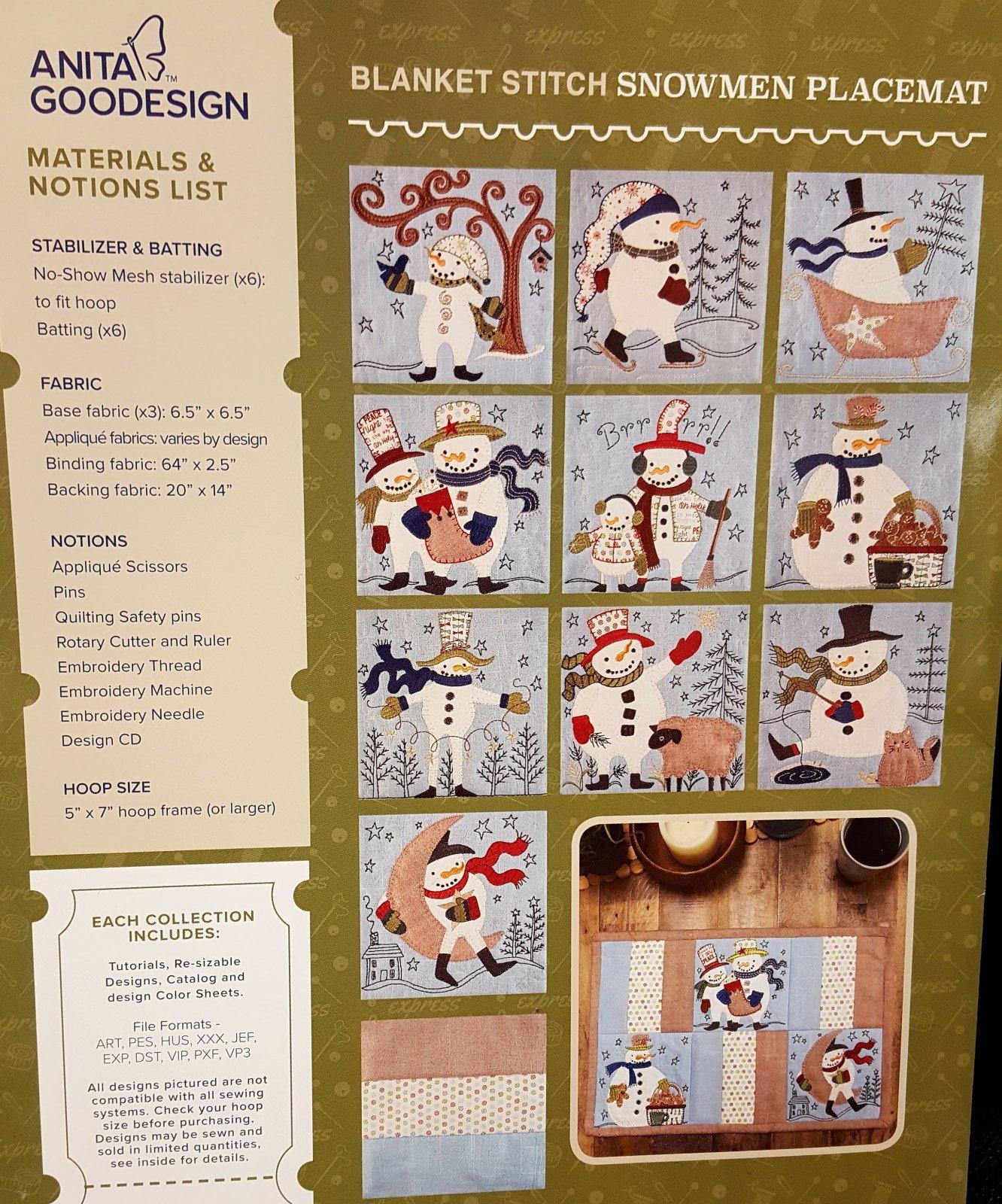 Anita Express Blanket Stitch Snowmen