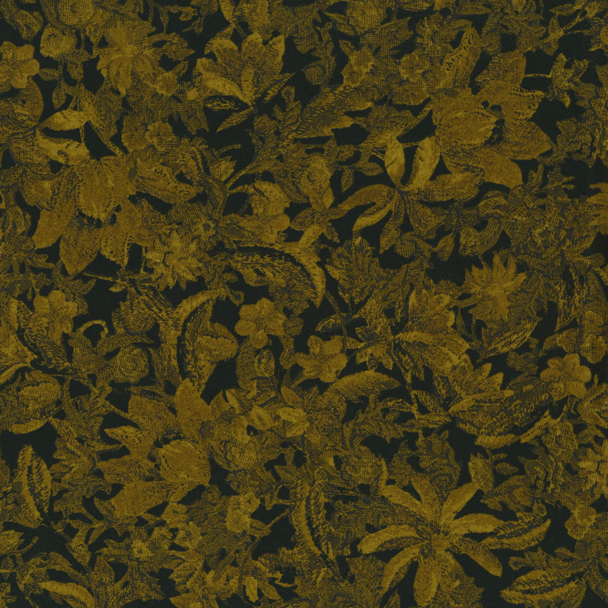 Jinny Beyer's Delhi Collection - Flower - Black/Golden Fabric