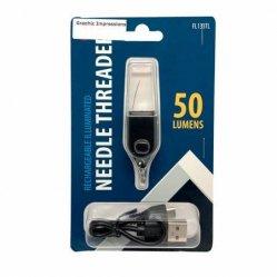 Illuminated rechargable needle threader