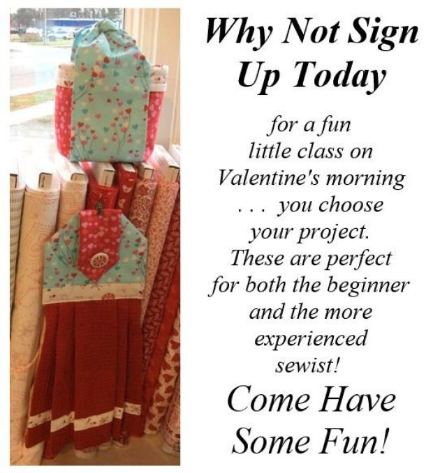 Why not sign up today for a Valentine's class.  Choose your project.  Perfect for a beginner or experienced sewist