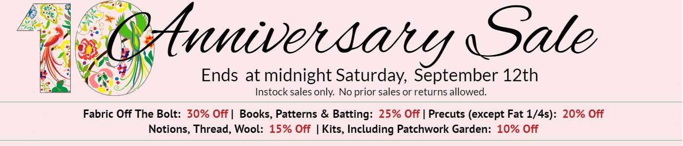 Anniversary sale ends Saturday, September 12 at midnight.