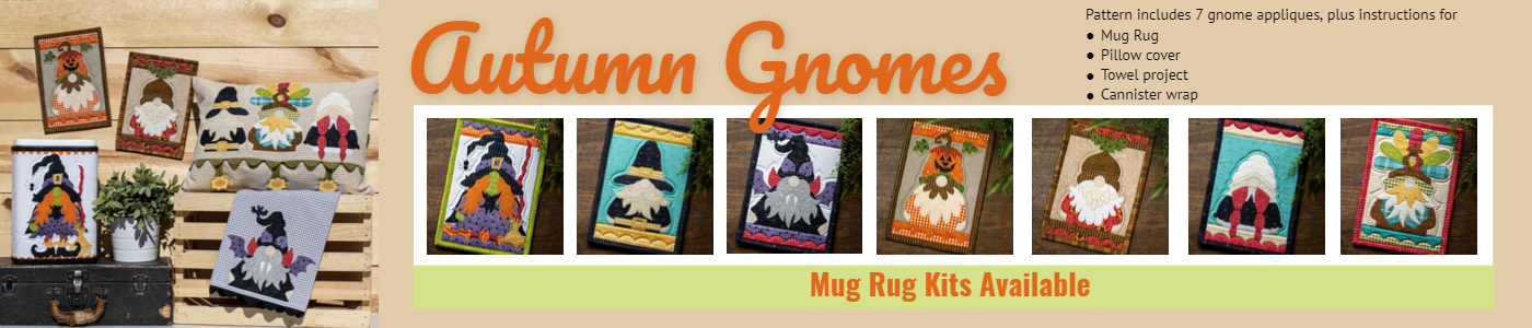 Autumn gnomes 7 gnome patterns, mug rug, pillow cover, towel project, canister wrap