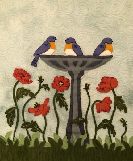 Poppies & Bluebirds