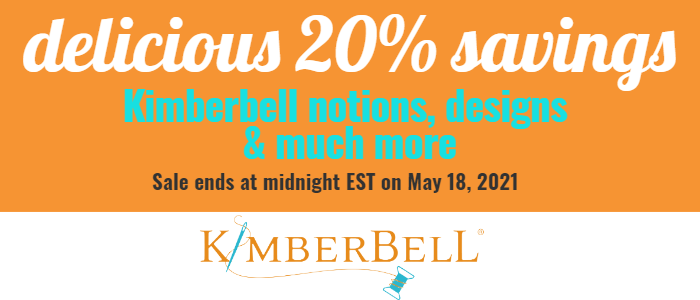 delicious 20% savings on Kimberbell notions and more.  Sale ends midnight May 18 Eastern