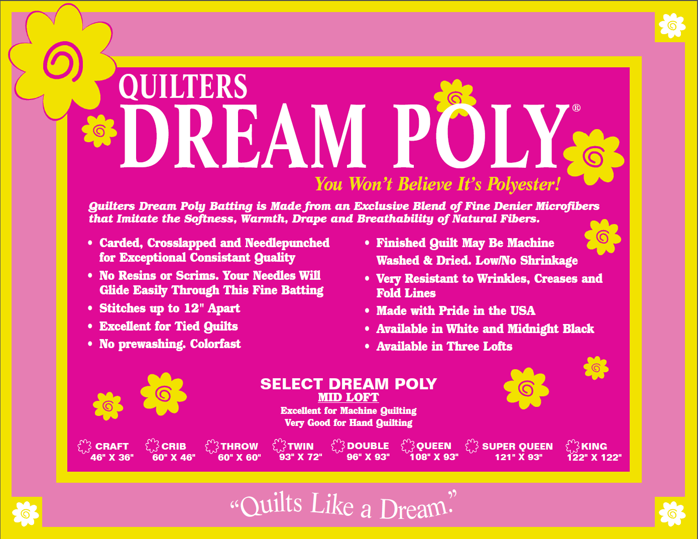Quilters Dream Poly Select - Craft 36 x 46