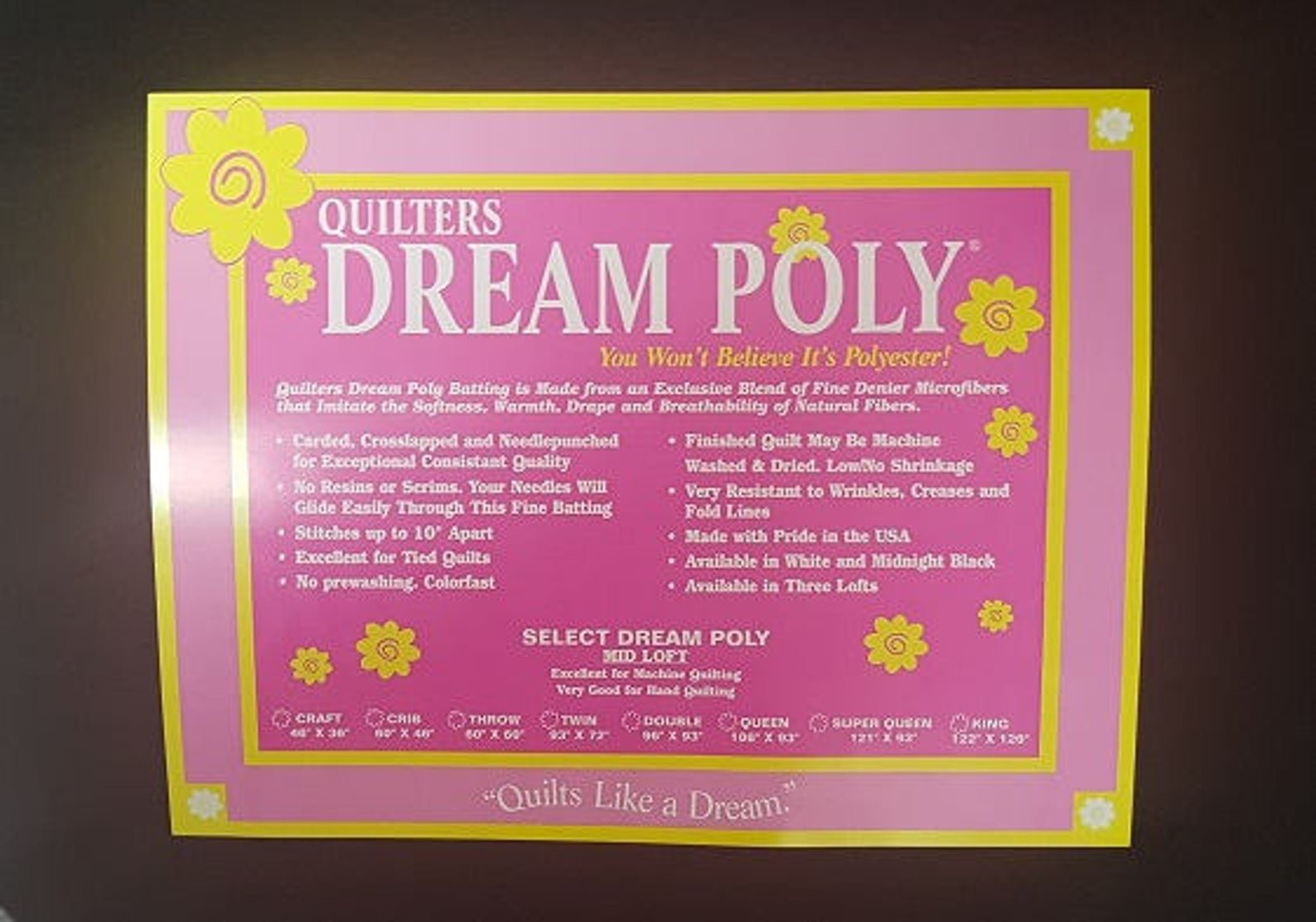 Quilters Dream Polyester Select Black Craft - 46 x 36