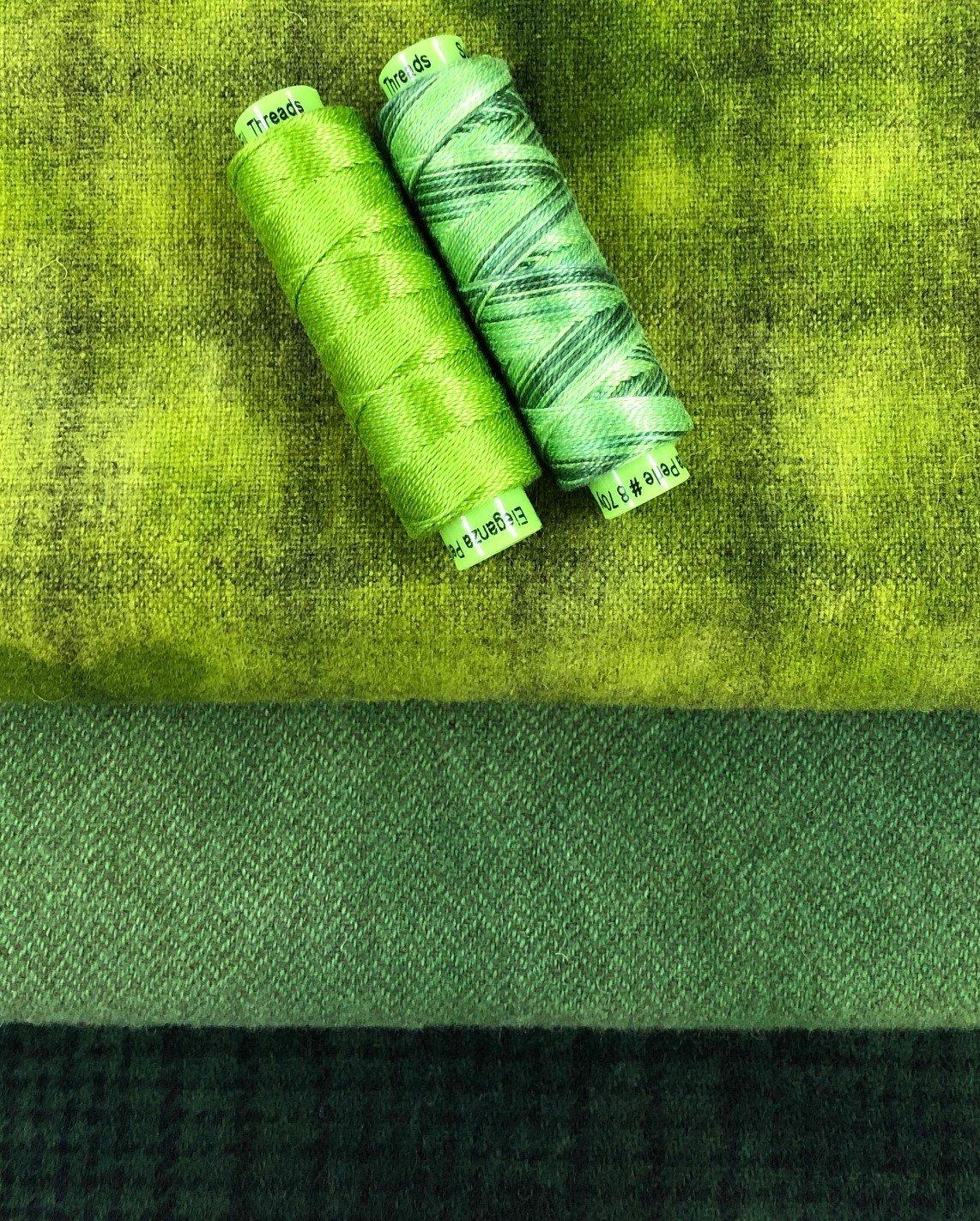 Green Thread and Wool Bundle