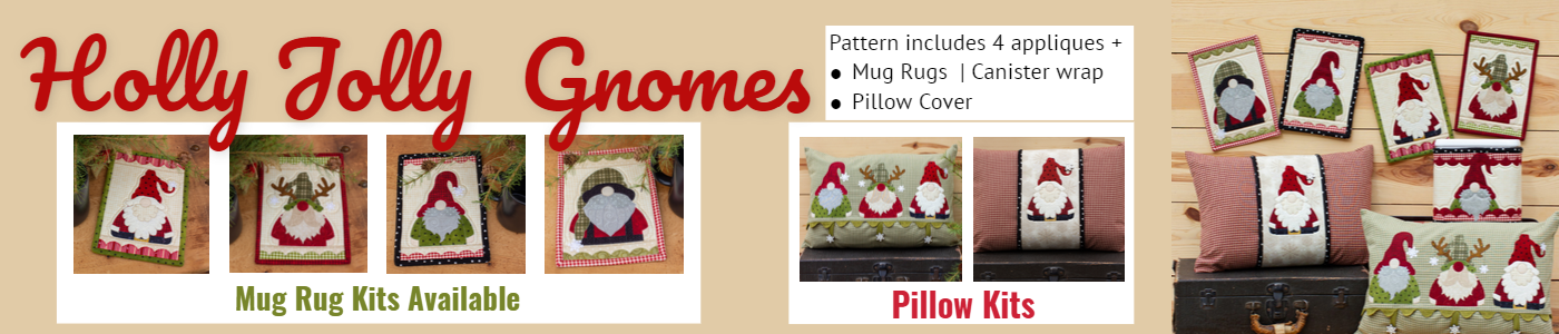 Holly Jolly Gnome 4 appliques plus patterns for mug rugs and more
