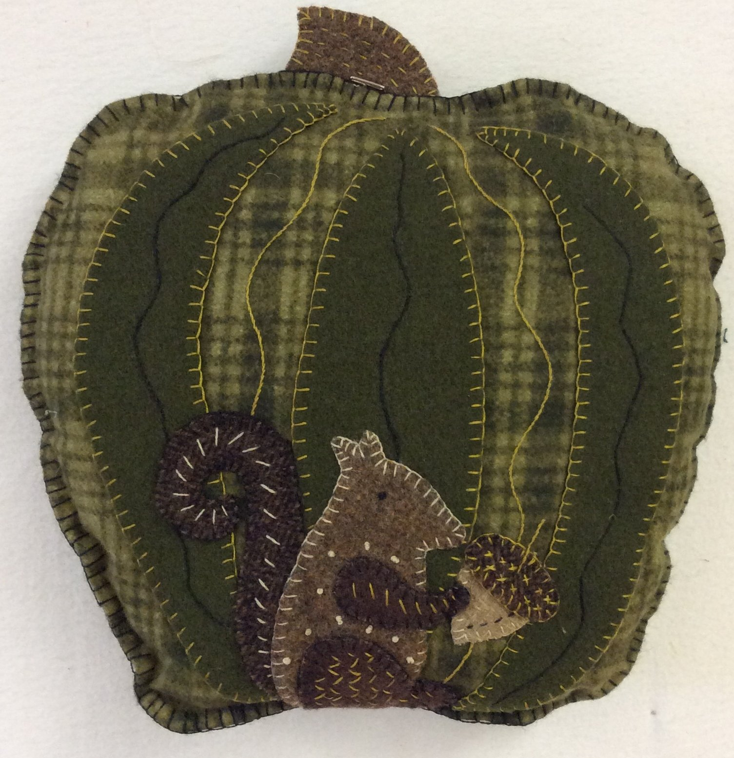 Pillow From The Patch -- Green Pumpkin -- PGK