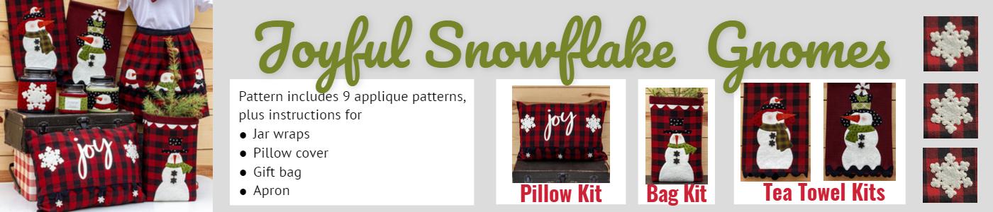 Joyful snowflake gnome 9 snowflake appliques plus jar wraps, pillow cover, gift bag, approns