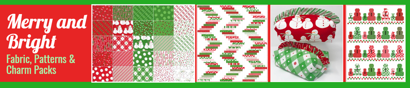 Merry and Bright Fabrics, Patterns Charm Packs