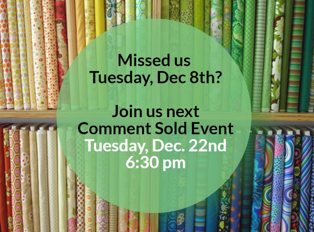 Missed Tuesday Dec. 8th.  Join us for the next Comment Sold Live Event on Dec. 22nd at 630 pm