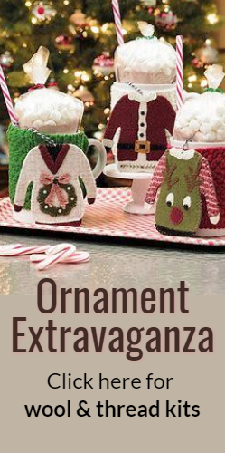 Ornament Extravaganza Click here for wool and thread kits
