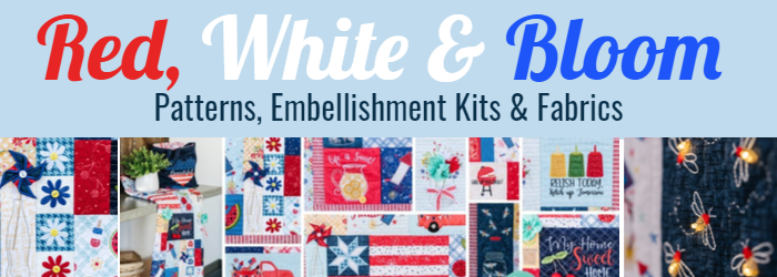 Red White & Bloom patterns, fabric, embellishment