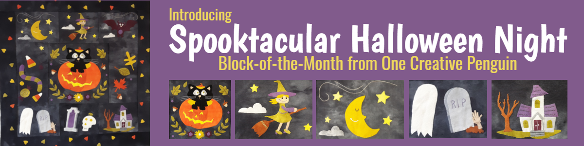 spooktacular halloween Night Newest block of the month from One Creative Penguin