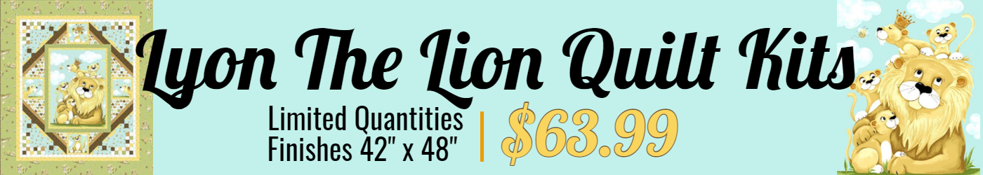 Lyon the lion quilt kits limited inventory, finishes 42