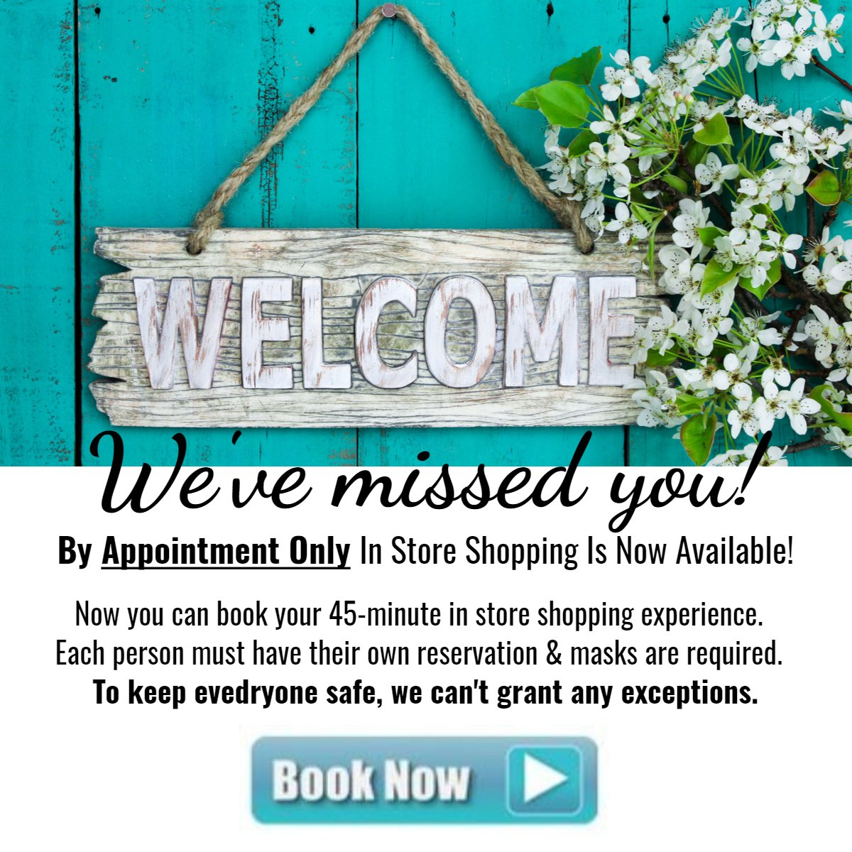 Welcome.  Click here to book your in store shopping experience.  Advance reservations required