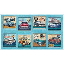 Motorin' Vintage Cars Picture Patch Panel-Aqua