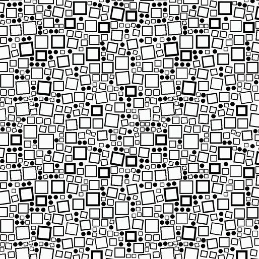 Squares & Dots Black on White