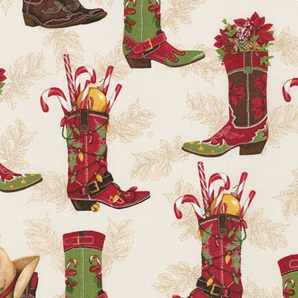 Holly Jolly Christmas Cowboy Boots on cream