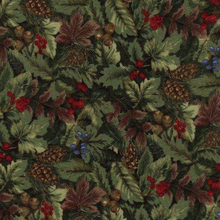 Winter Memories Flannel Green Leaves & Berries