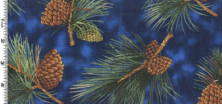 Outdoor Splendor Boughs & Cones on Blue