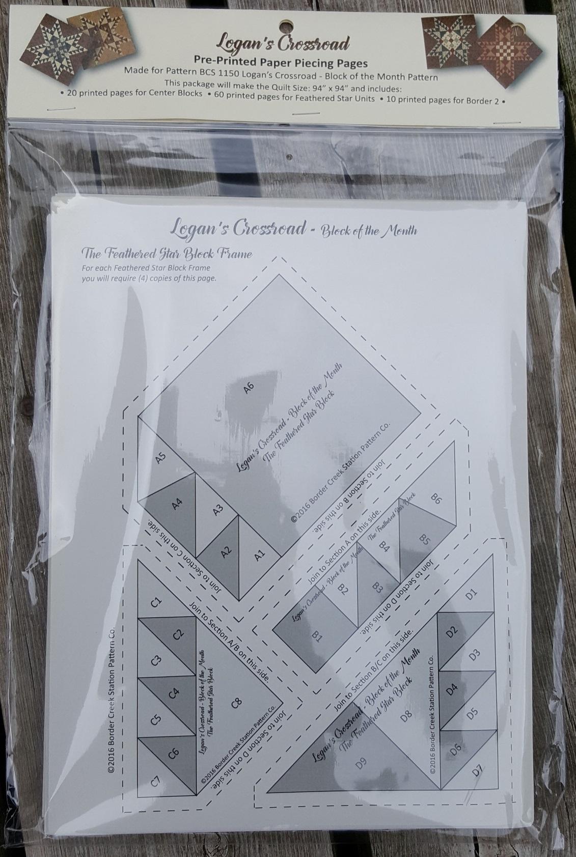 Pre-Printed Foundation Paper for BCS 1150 Logan's Crossroad