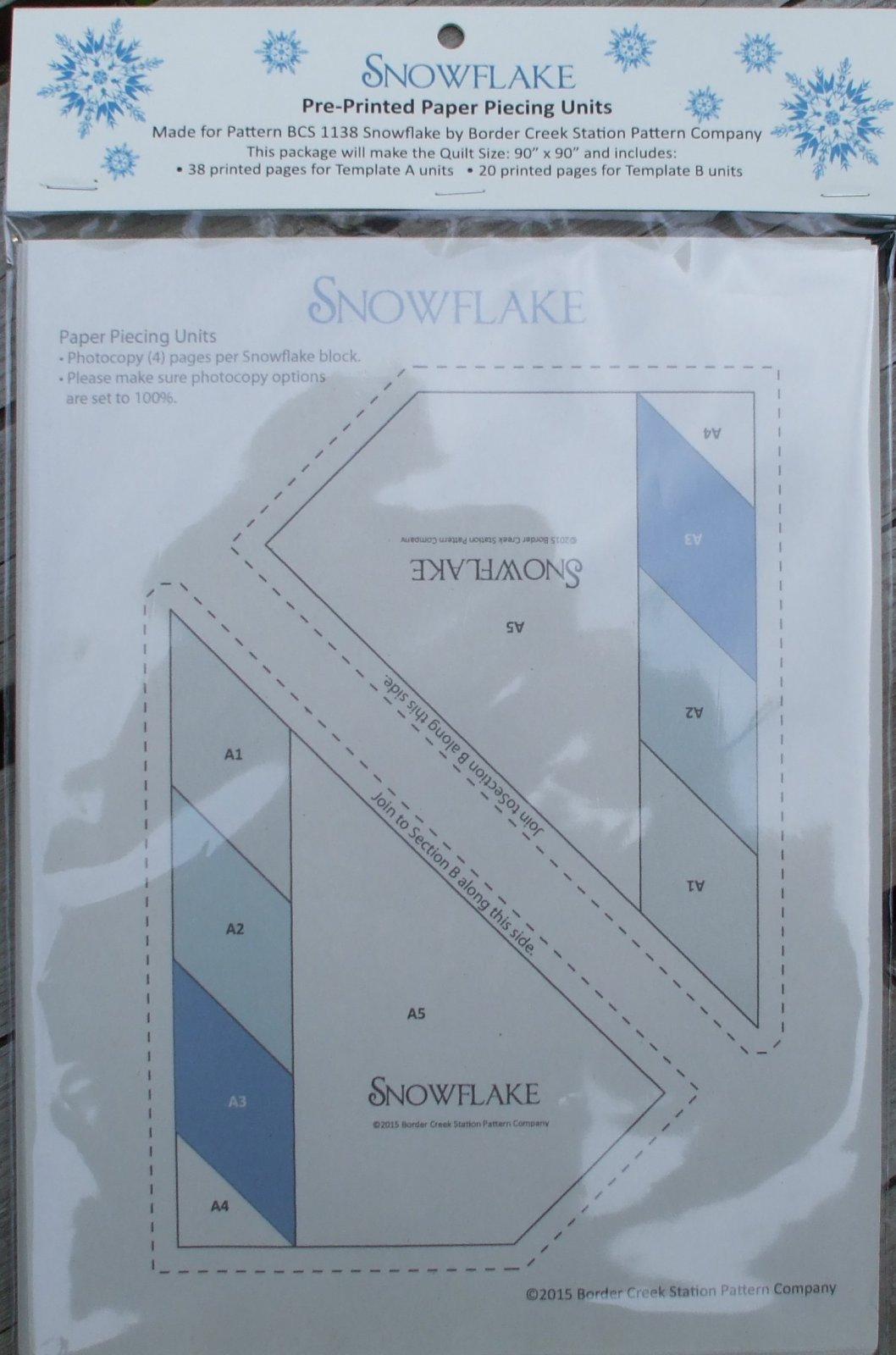 Pre-Printed Foundation Paper for BCS 1138 Snowflake