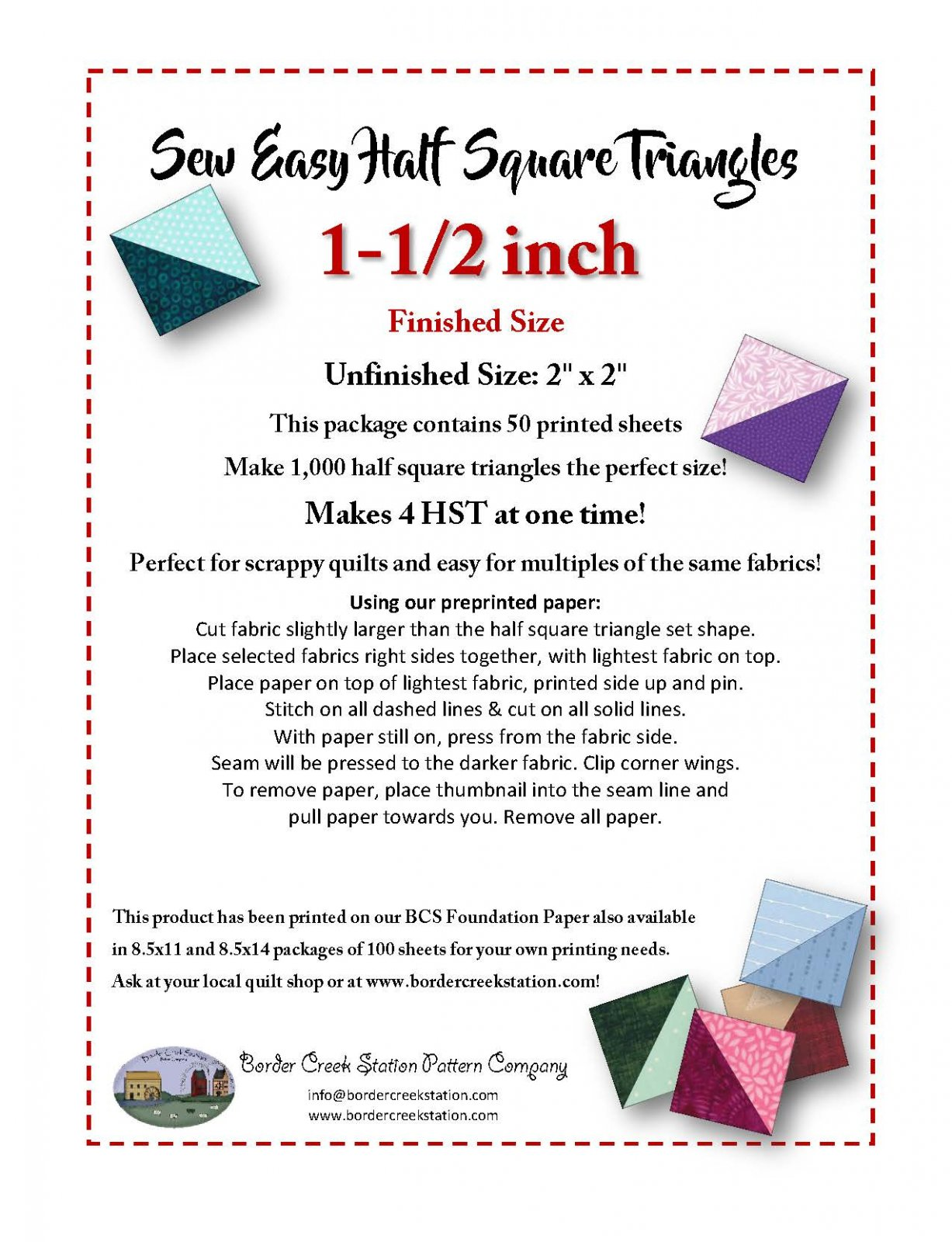 Sew Easy Half Square Triangle Paper for 1-1/2 finished size