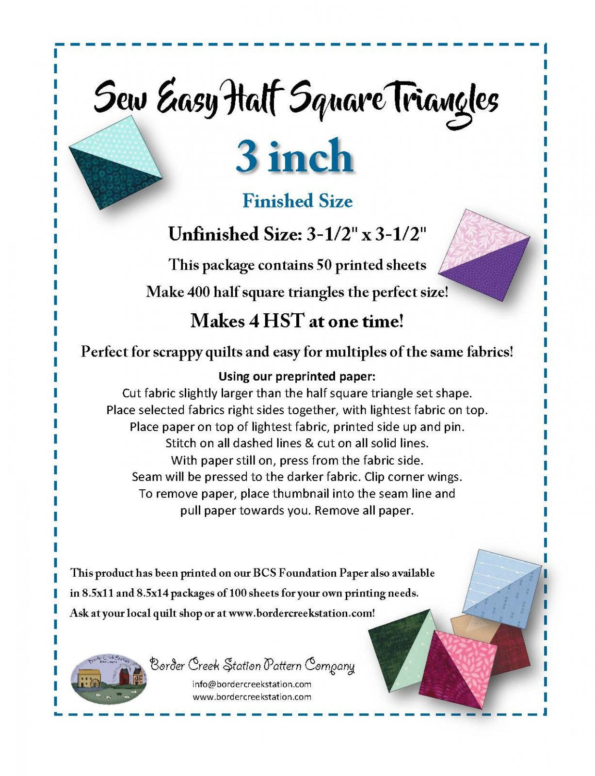 Sew Easy Half Square Triangle Paper for 3 finished size