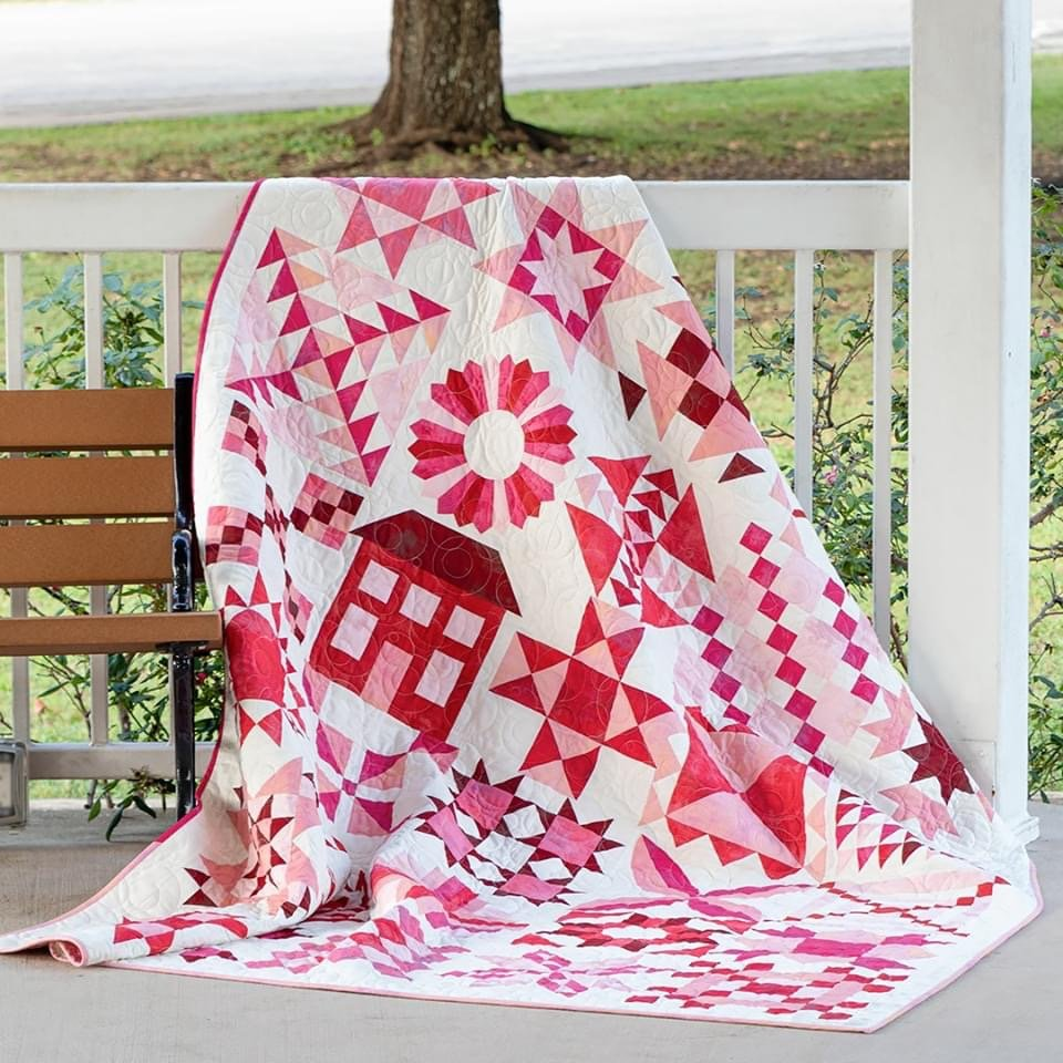 Stitch Pink Sew Along Quilt Kit using Grunge by Basic Grey for Moda Fabrics