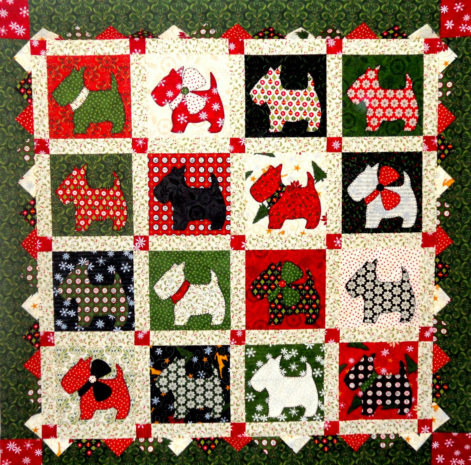 Christmas Scottie Dogs Quilt Kit